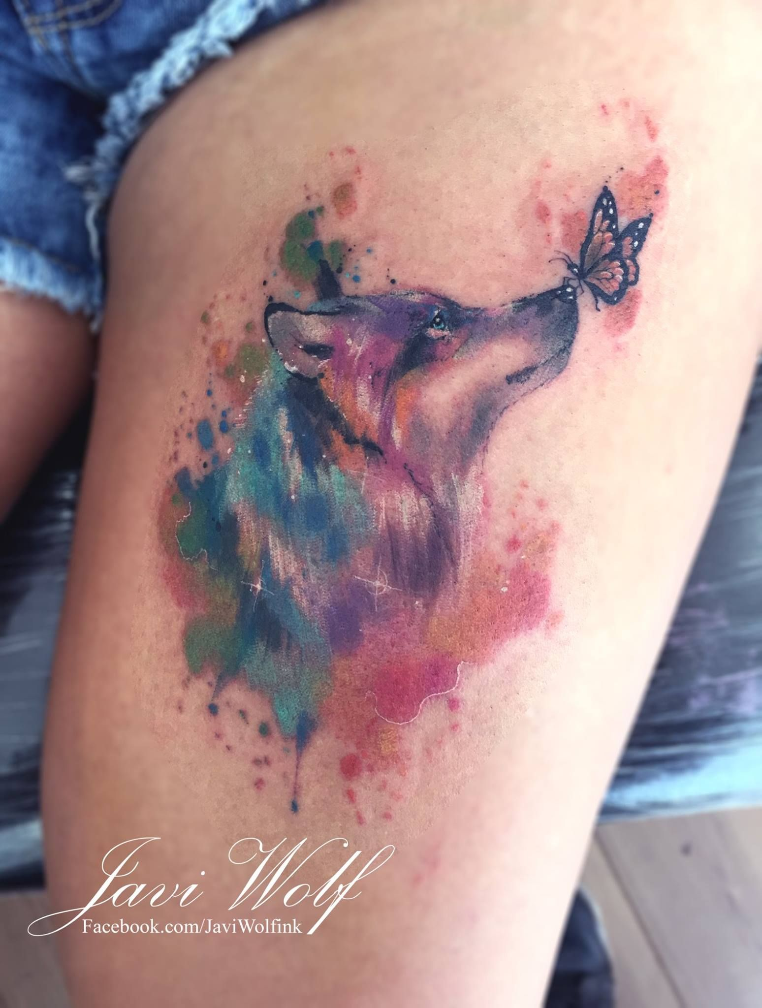 Beautiful Tattoo Of A Wolf And Butterfly Wolf Tattoos For Women Wolf Tattoo Design Wolf Tattoos