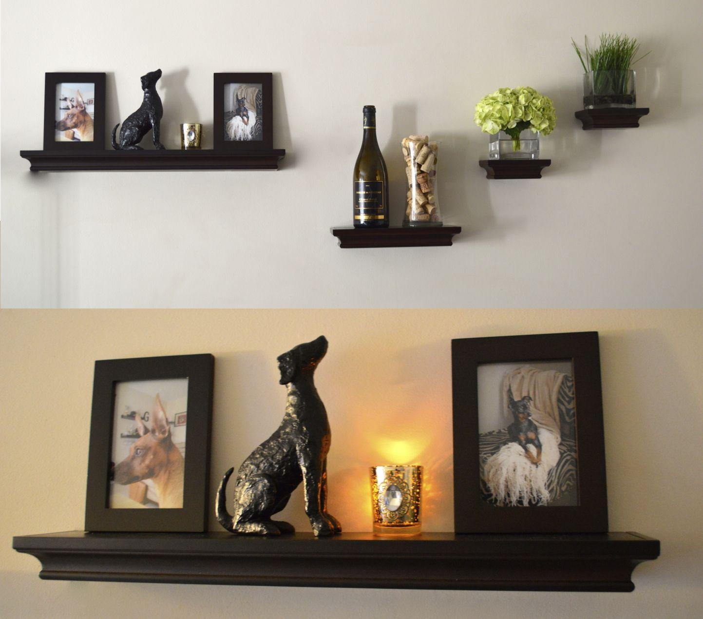 beauteous black wooden floating shelves idea with classy classic design for display shelves