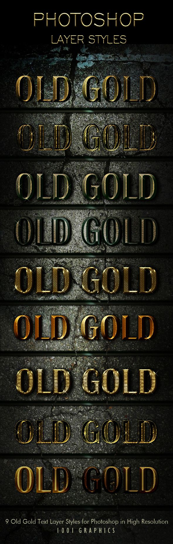 9 Old Gold Text Effects Styles ASL