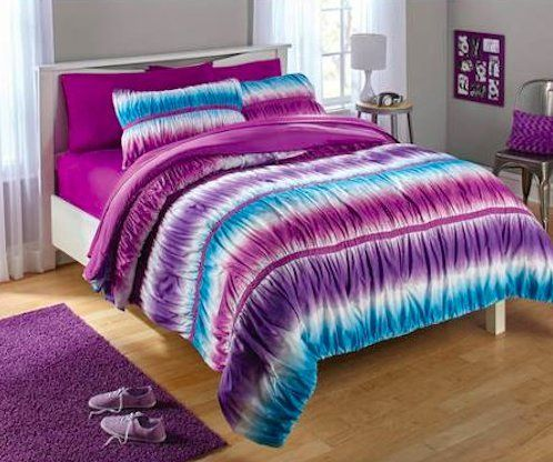 Teen Girls Reversible Purple And Blue Tie Dye Ombre Ruched Twin Comforter  Set 2 Piece Bed In A Bag ** Check Out This Great Product.