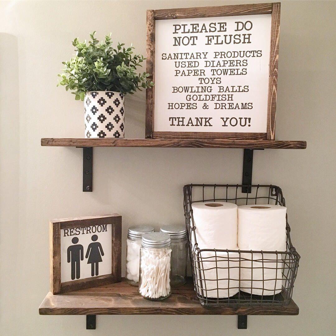 Photo of 13X13   Please Do Not Flush   Wash Your Hands   Bathroom Sign   Wood Framed Sign   Rustic Decor   Farmhouse Style Decor