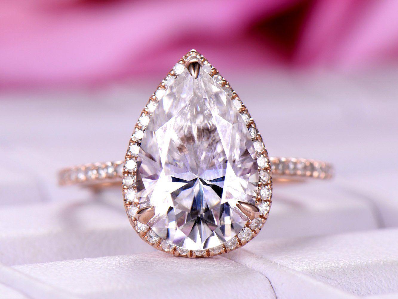 Pear Moissanite Engagement Ring Pave Diamond Wedding 14K Rose Gold 8x12mm - 6 / 14K White Gold