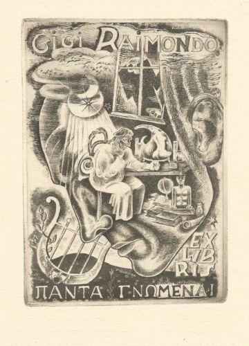 RARE-Exlibris-bookplate-for-Gigi-RAIMONDO-by-Michel-FINGESTEN-1884-1943-AU
