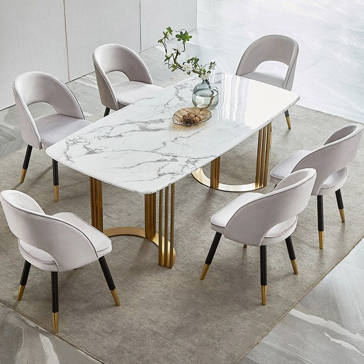 Faux Marble Dining Table Gold Dining Table Rectangular Stainless Steel Dining Table 6 Seat In 2020 Dining Table Marble Faux Marble Dining Table Dining Table Gold
