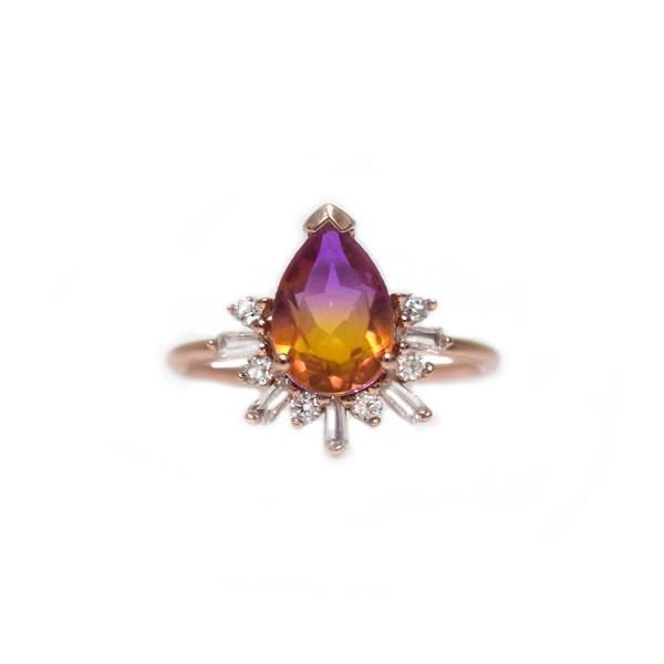 Rose Gold Ametrine & Faux Diamond Queen Bee Ring - La Kaiser