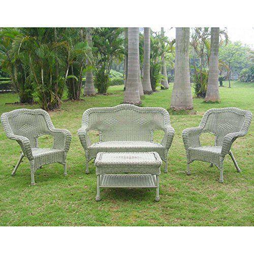 4 Pc Wicker Resin Steel Patio Settee Set In Antique Moss Conversation Set Patio Wicker Patio Set Patio Furniture Conversation Sets