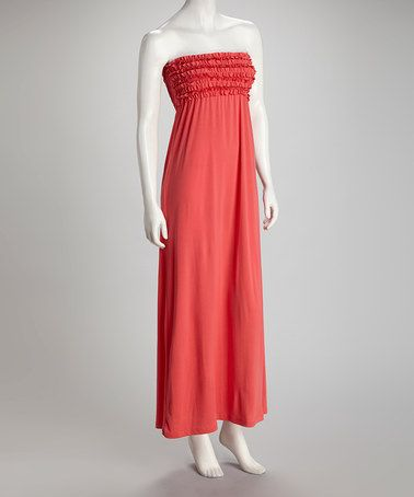 Take a look at this Coral Strapless Maxi Dress by Sassy Wahine on #zulily today! $19.99, regular 40.00