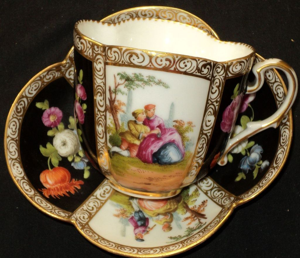 antique dresden teacup saucer german cups saucers pinterest porzellan. Black Bedroom Furniture Sets. Home Design Ideas