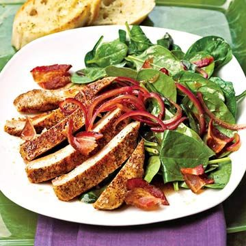Spinach Salad with Ancho Chili Pepper Chops