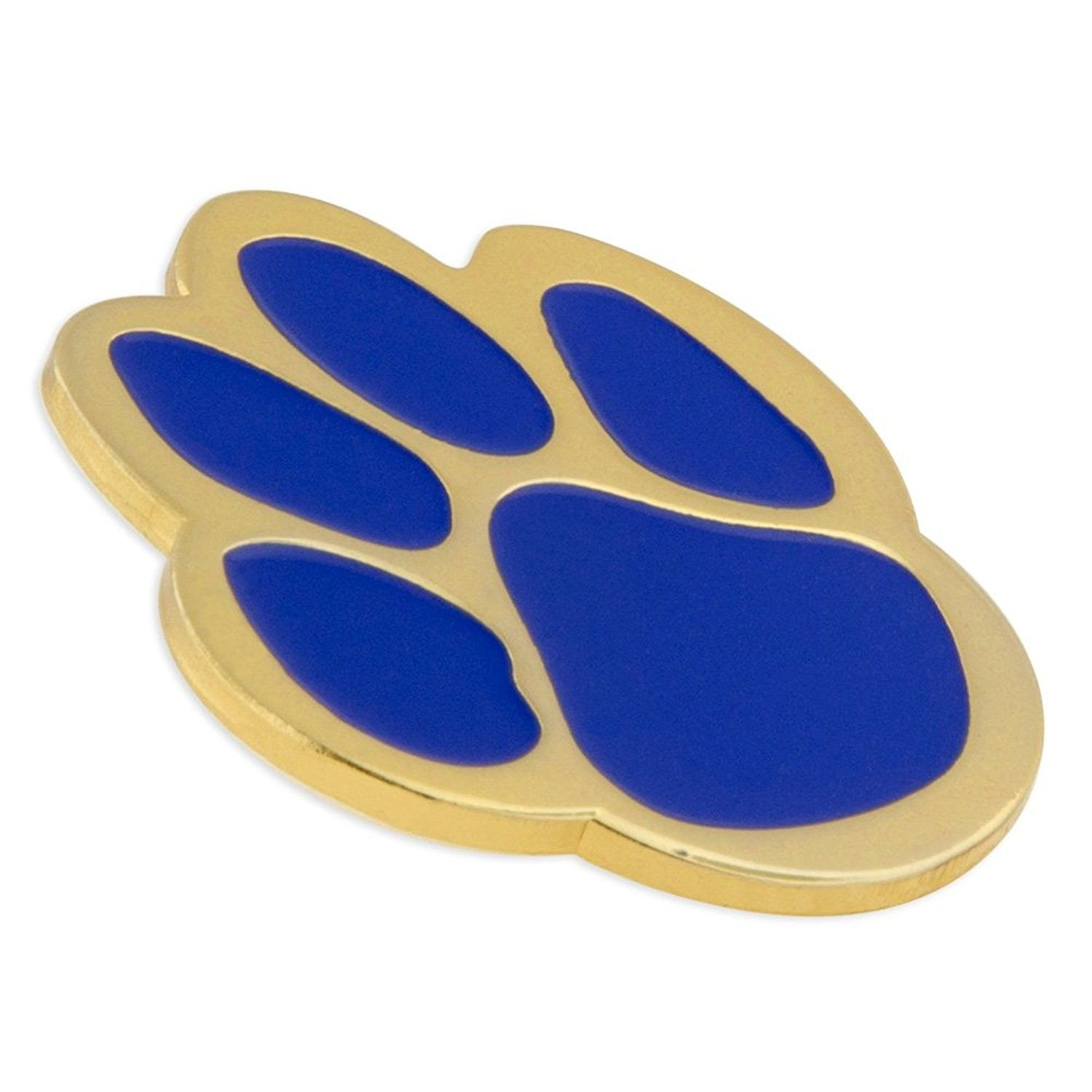 PinMart Yellow and White Animal Paw Print School Mascot Enamel Lapel Pin