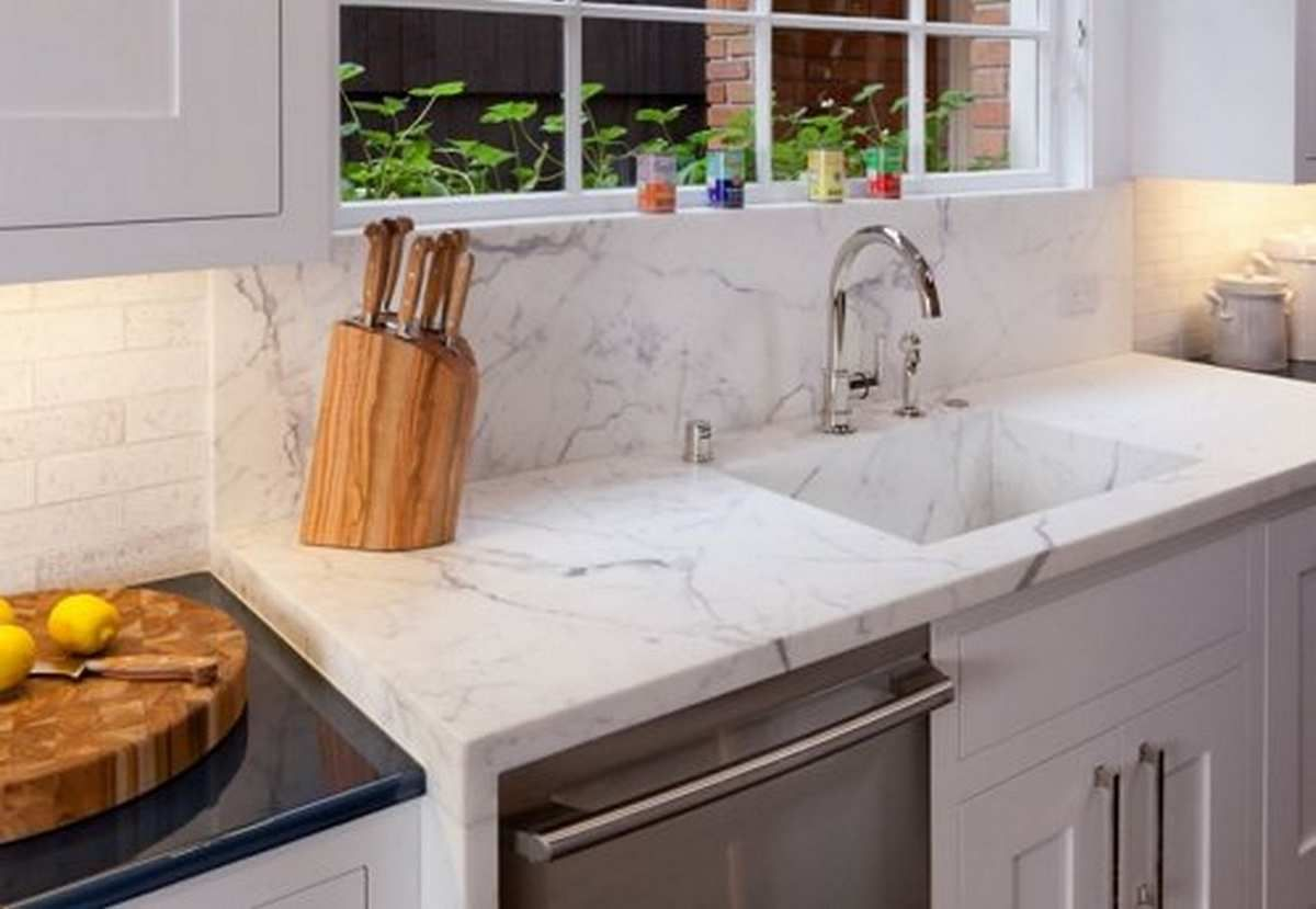 White quartz kitchen sink integrated with the quartz for White kitchen with white quartz countertops