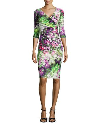 Floral Printed Ruched Cocktail Dress by La Petite Robe di Chiara Boni at Bergdorf Goodman.