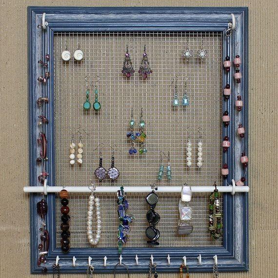 wooden window frame diy jewelry display shelf with hooks wall
