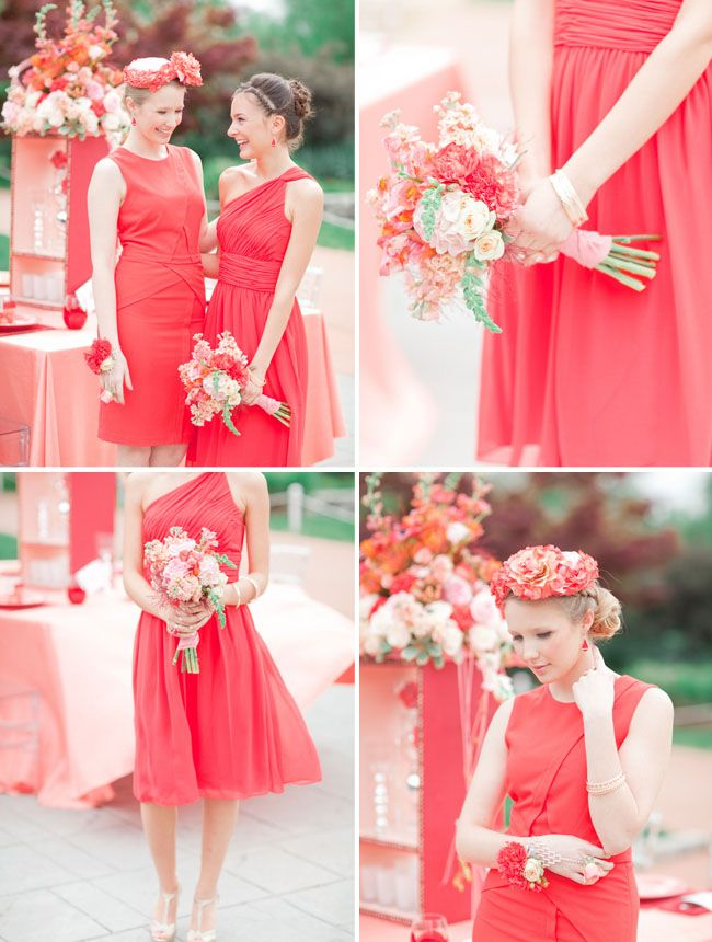 a coral poppy red palette styled two ways bridesmaids