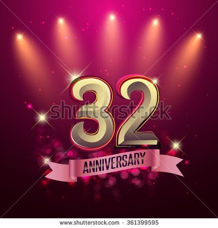 32nd Anniversary, Party poster, banner or invitation - background glowing element. Vector Illustration. - stock vector