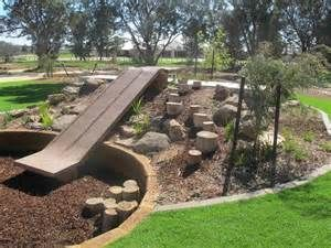 natural playscape with slide | Backyard Ideas | Pinterest