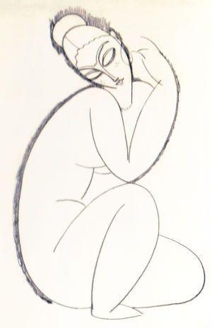 Modigliani Seated Female Nude Sketch (1913)