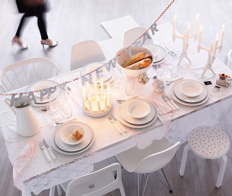 clean table, white.