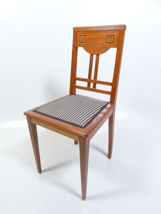 Foto 1 Jugendstil Stuhl In Mahagoni Um 1910 Mit Wurfel