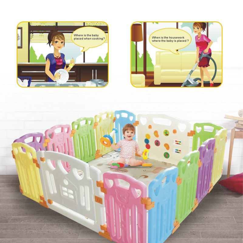 Baby Playpen Kids Activity Centre Safety Play Yard Home Indoor Outdoor With 14