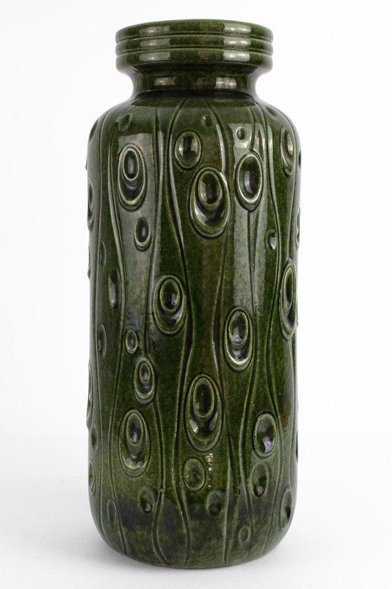 Xl Keramik Vase Von Scheurich 288 Grun 70er Jahre Vintage Keramik Vase Keramik Vintage