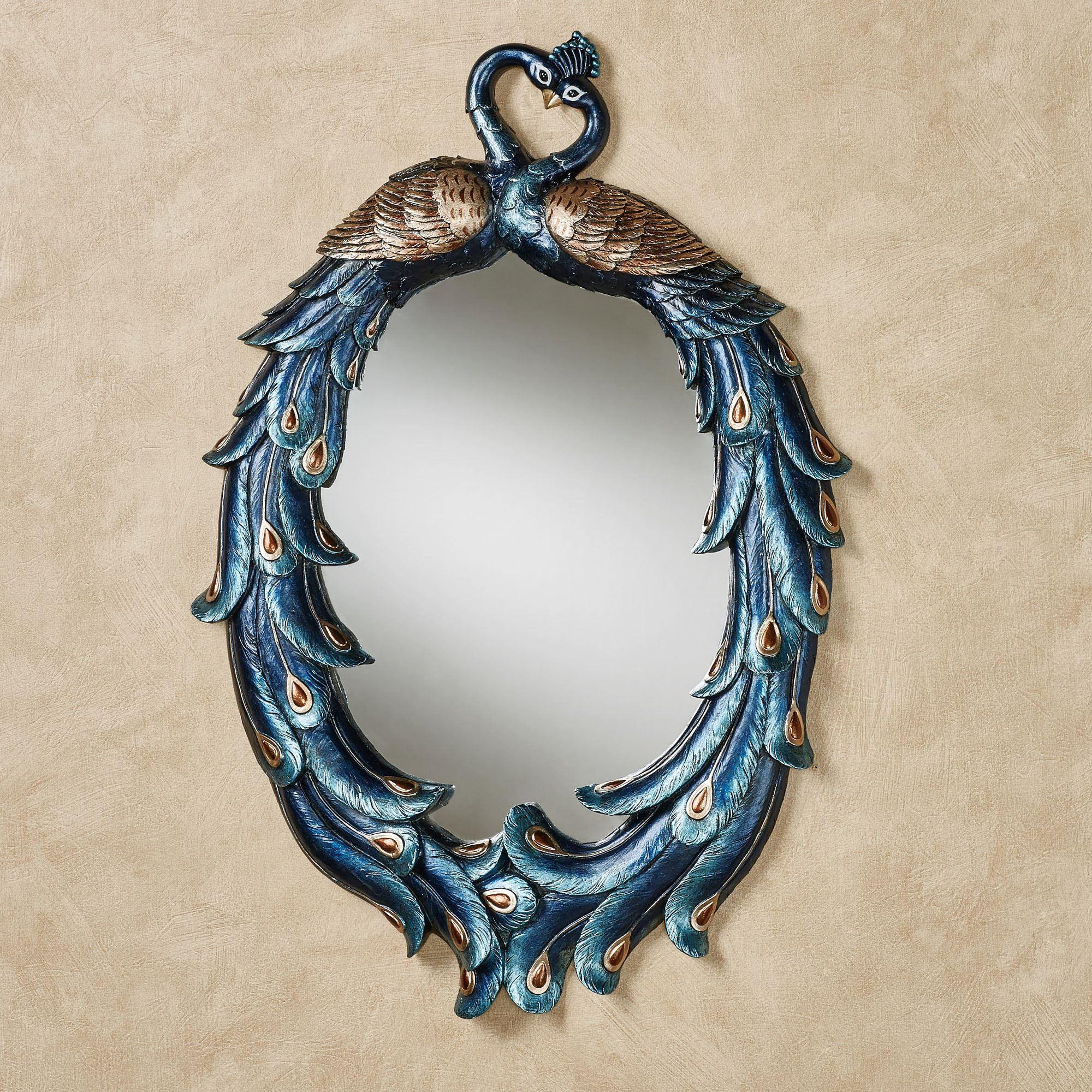 Priscilla peacocks blue oval wall mirror peacock blue and peacocks