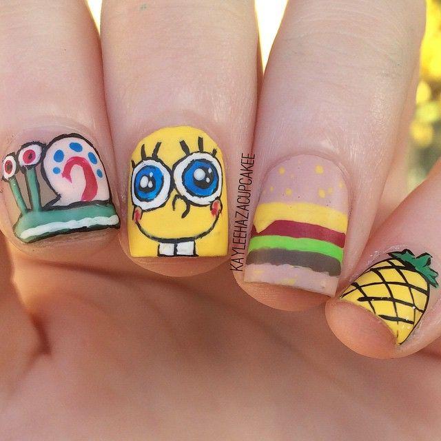 Instagram Media Kayleehazacupcakee Spongebob Nail Nails Nailart
