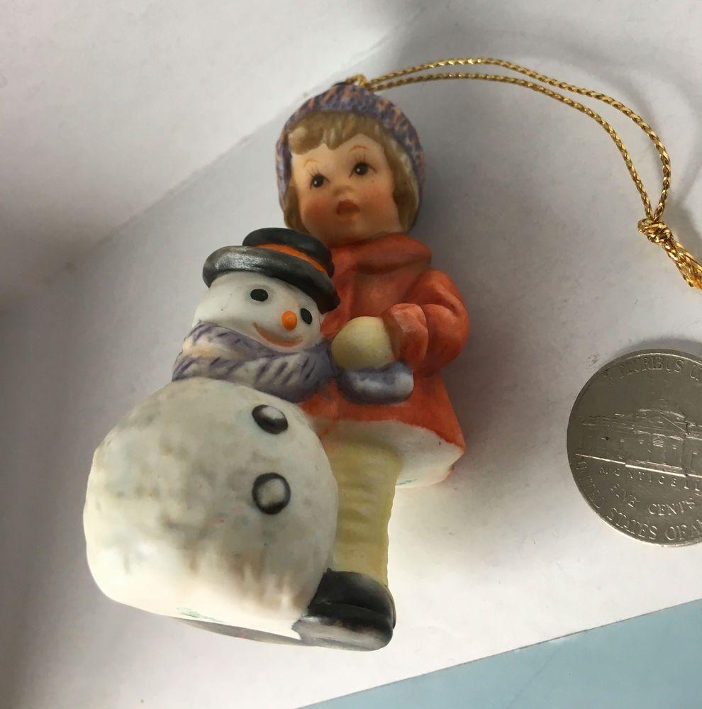 Goebel Berta Hummel Ceramic Christmas Ornament A Girft For Snowman K 34