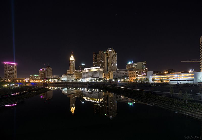 Night Photography Citiscape Of Columbus Ohio At The Scioto River