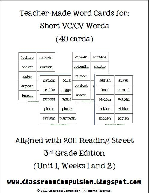 Classroom Freebies Too: Short VCCV Spelling Word Cards