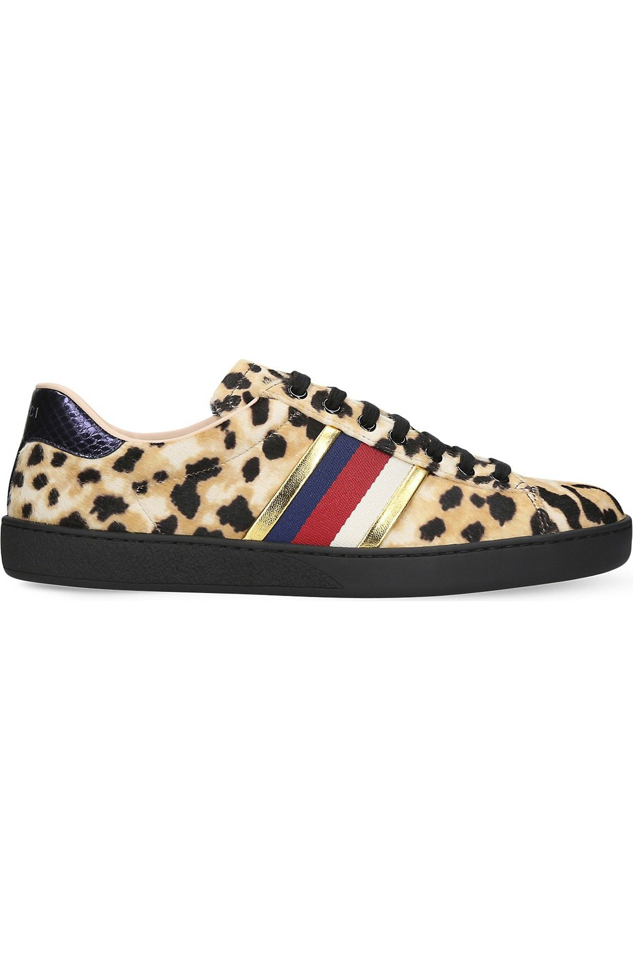 bd31f2e59c7 GUCCI - New Ace leopard-print pony-hair trainers
