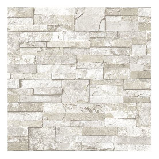 Shop blue mountain wallcoverings blue mountain mini ledgestone white peelable vinyl prepasted wallpaper at lowes canada
