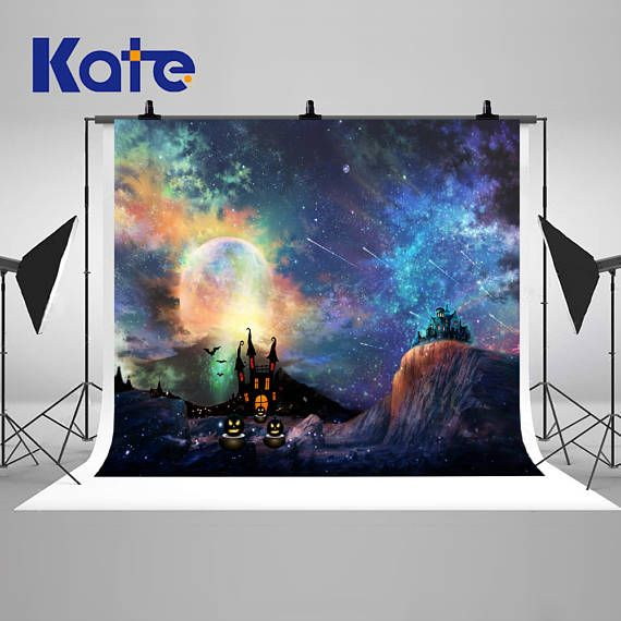 Halloween Castle Fantastic Night Sky Photography Backdrops - halloween backdrop