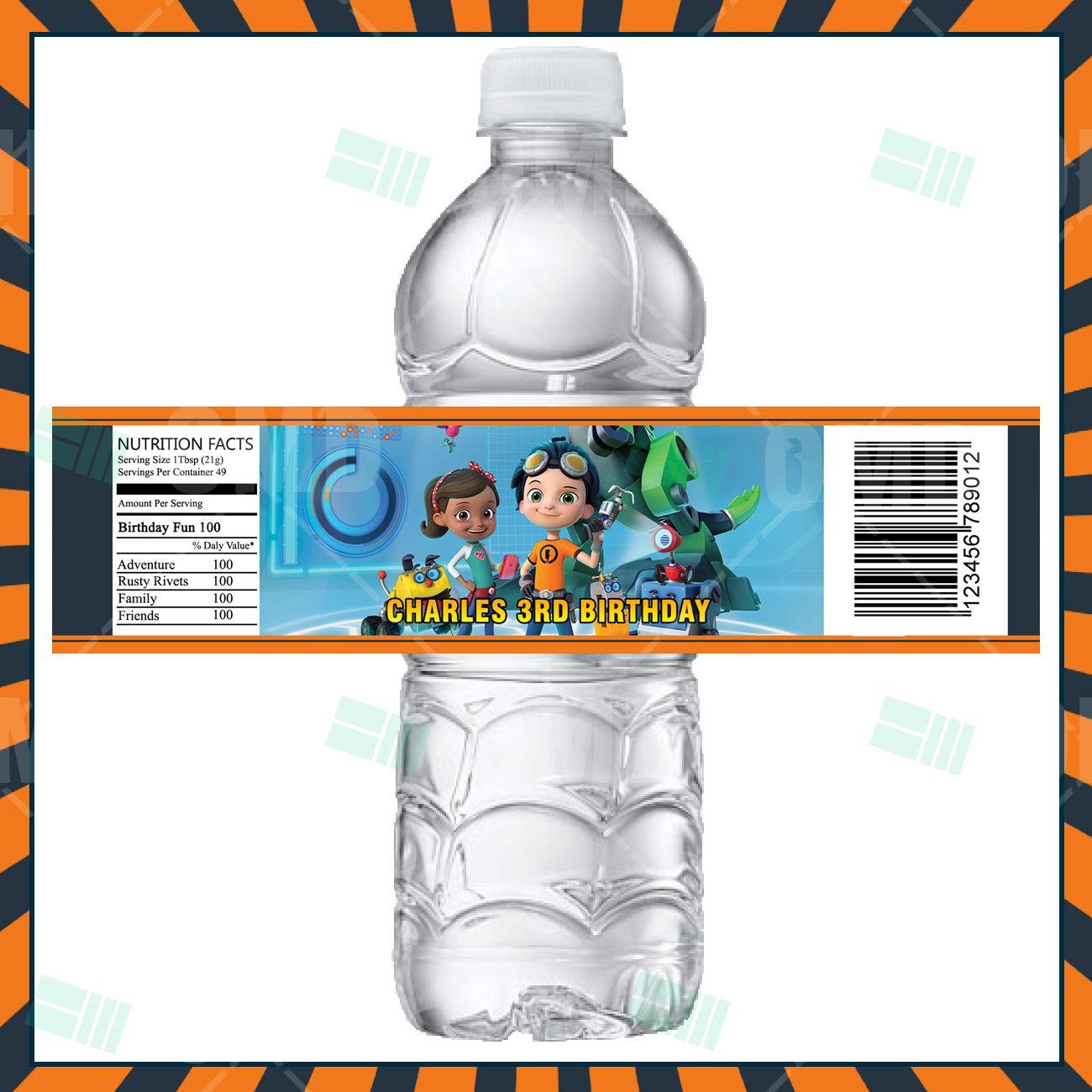 Rusty Rivets Cartoon Party Bottle Labels