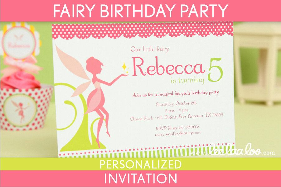 Fairy Birthday Party Invitation Personalized Printable // Fairy ...