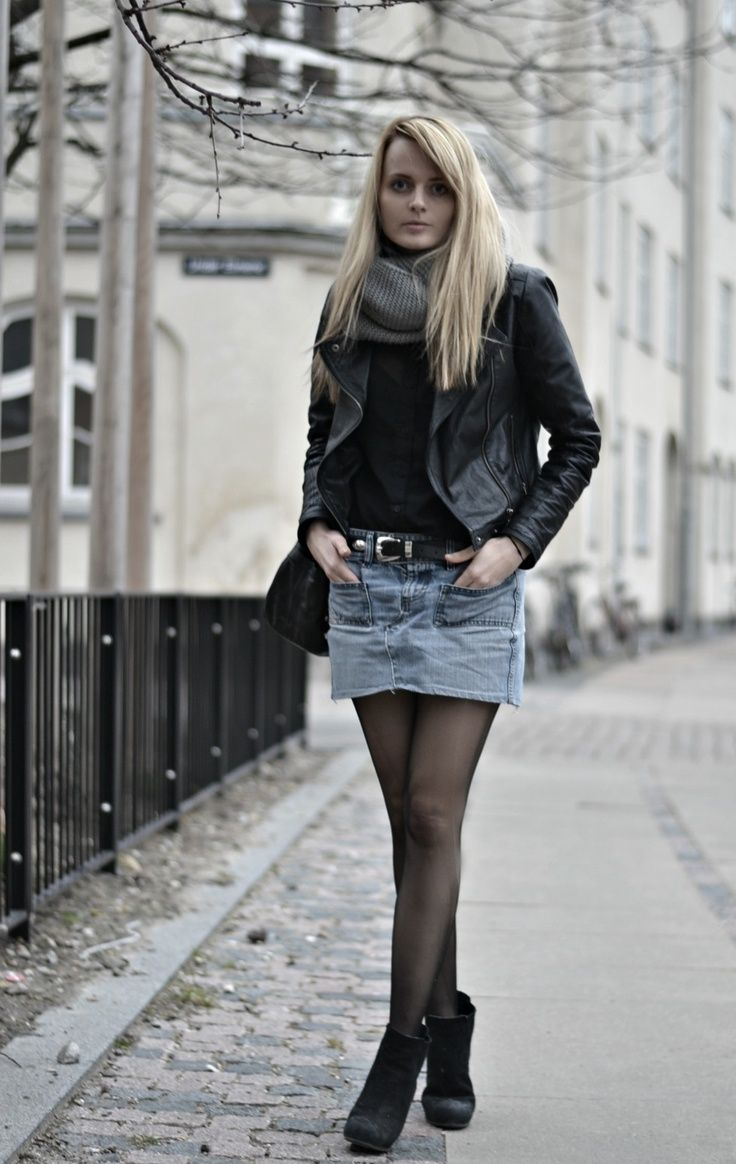 My Style Jeans Skirt From Diesel And Leather Jacket