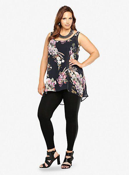 75ef6d139f763 Torrid Black Floral Hi Lo Tank Top Plus Size 1 2 3 4 Nwt Blouse Shirt Tee K5