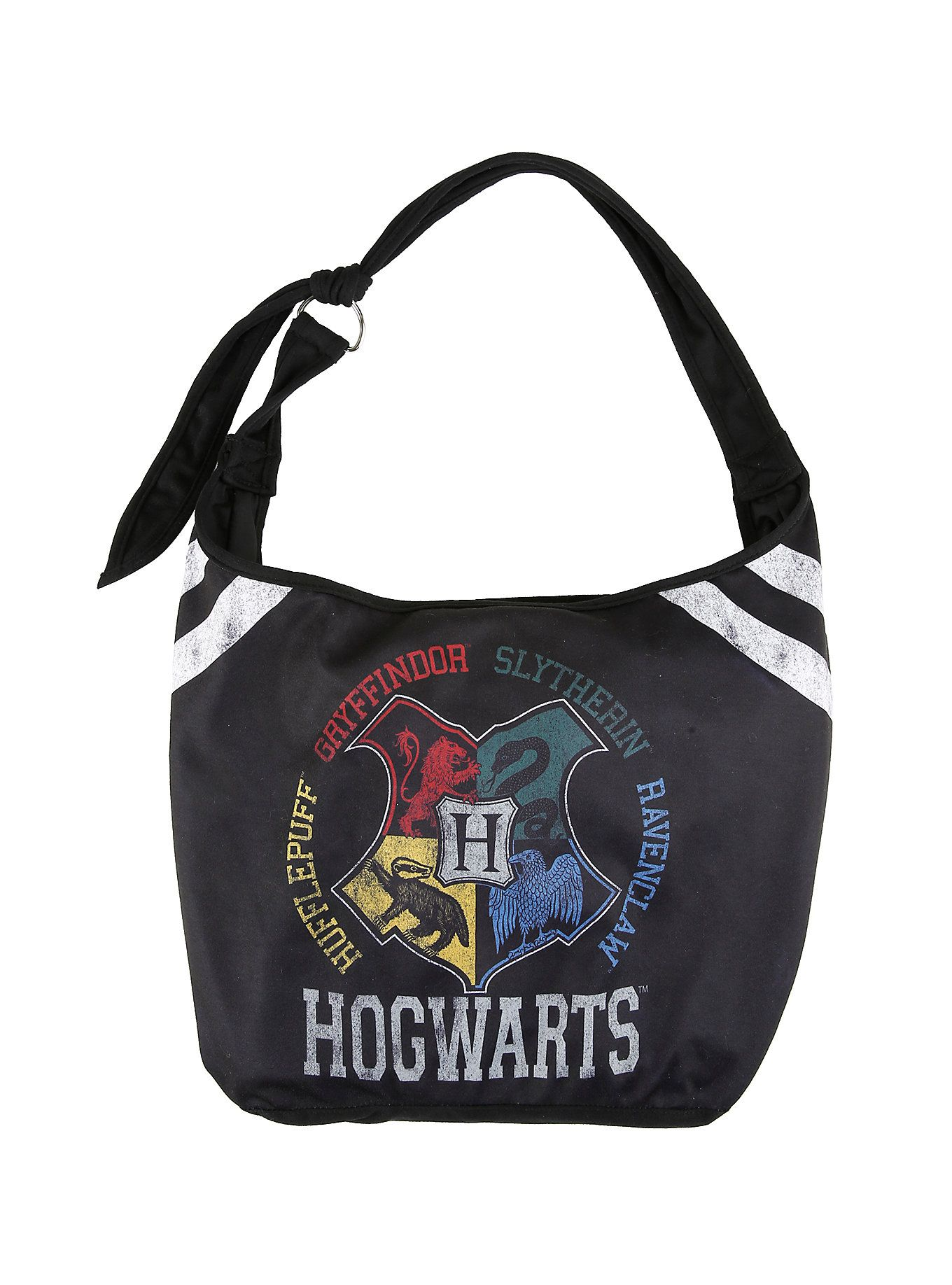 1cb6a5b29dc8  p Black hobo style bag from  i Harry Potter  i  featuring a faded    distressed varsity inspired Hogwarts crest design. Inside has pouch pockets.