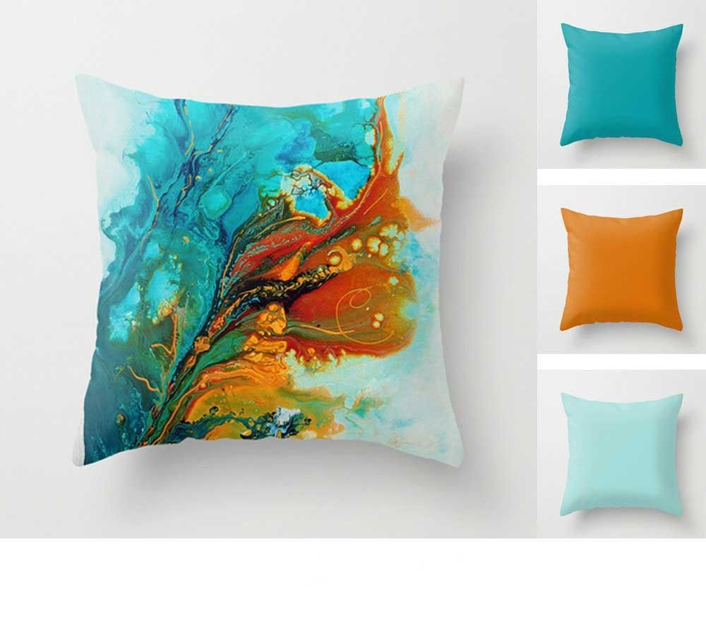 Abstract Throw Pillow Teal Turquoise And Orange Living Room