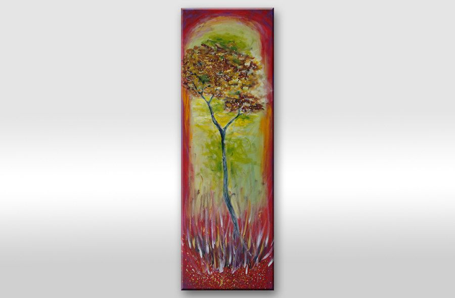 "Large Tree Painting On Canvas, Original Artwork, Modern Abstract Contemporary ""There"" 47x16 inches. $195.00, via Etsy."