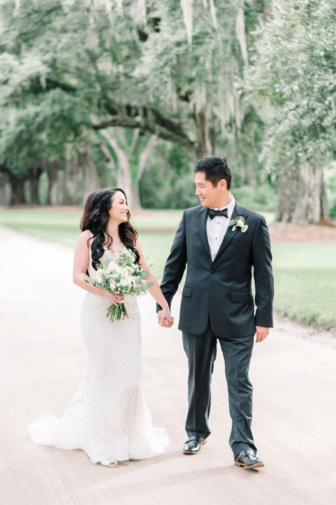 Bride and groom at boone hall plantation in charleston sc aaron