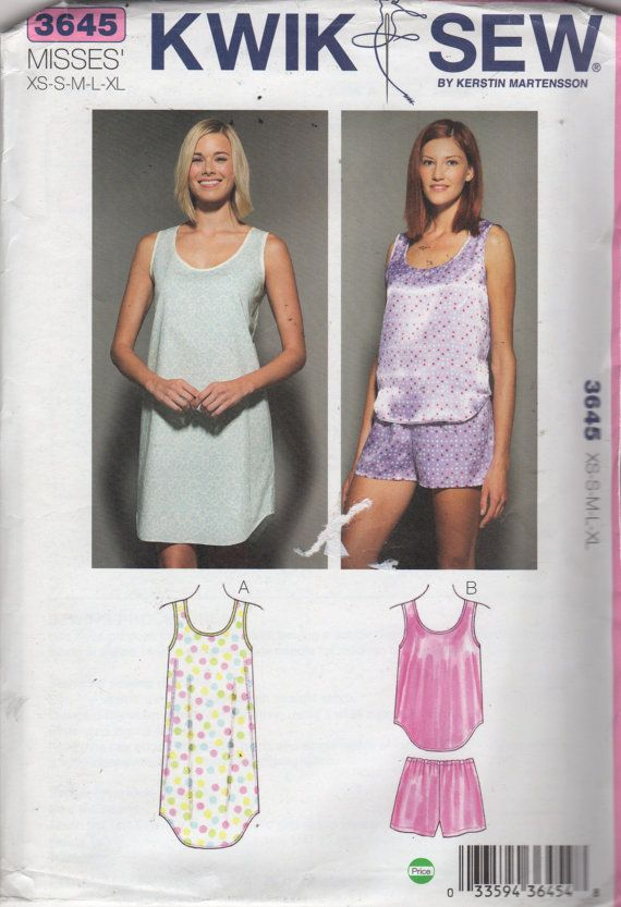 Kwik Sew 3645 Misses Scoop Neck Nightgown Pajamas Pattern Tank Top and Pull  On Shorts womens sewing pattern by mbchills 66d9f3a16