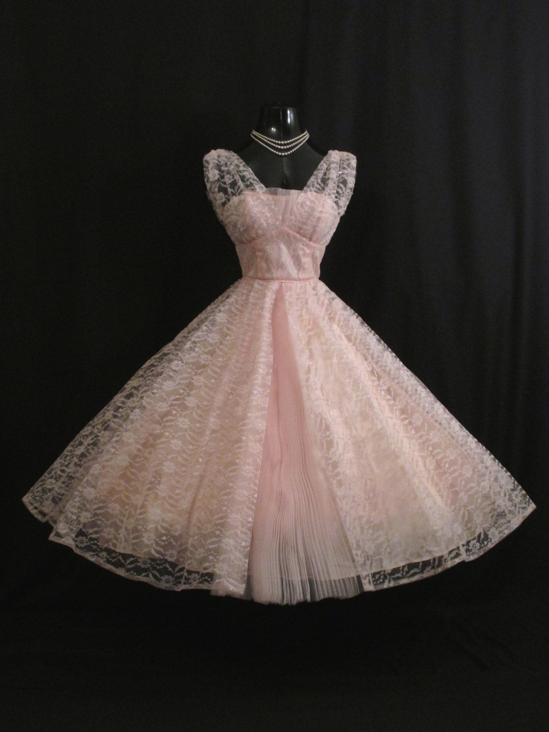 Vintage 1950\'s 50s Bombshell Baby PINK Lace Tulle Circle Skirt PROM ...