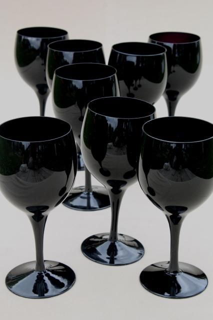 Black Glass Water Glasses Or Wine Goblets Vintage Stemware Set For 8 Vintage Stemware Glassware Retro Glassware