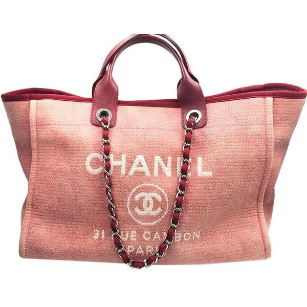 2d28b9d0aaa4 Chanel Red Canvas Deauville Tote Tradesy ( 10) ❤ liked on Polyvore  featuring bags