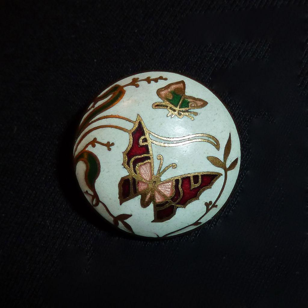 Art Deco Gilt Brass Enamel Button w Butterflies