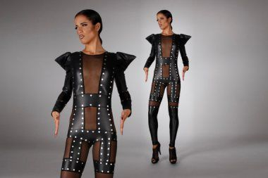 $2500 faux leather catsuit by LenaQuistDesign