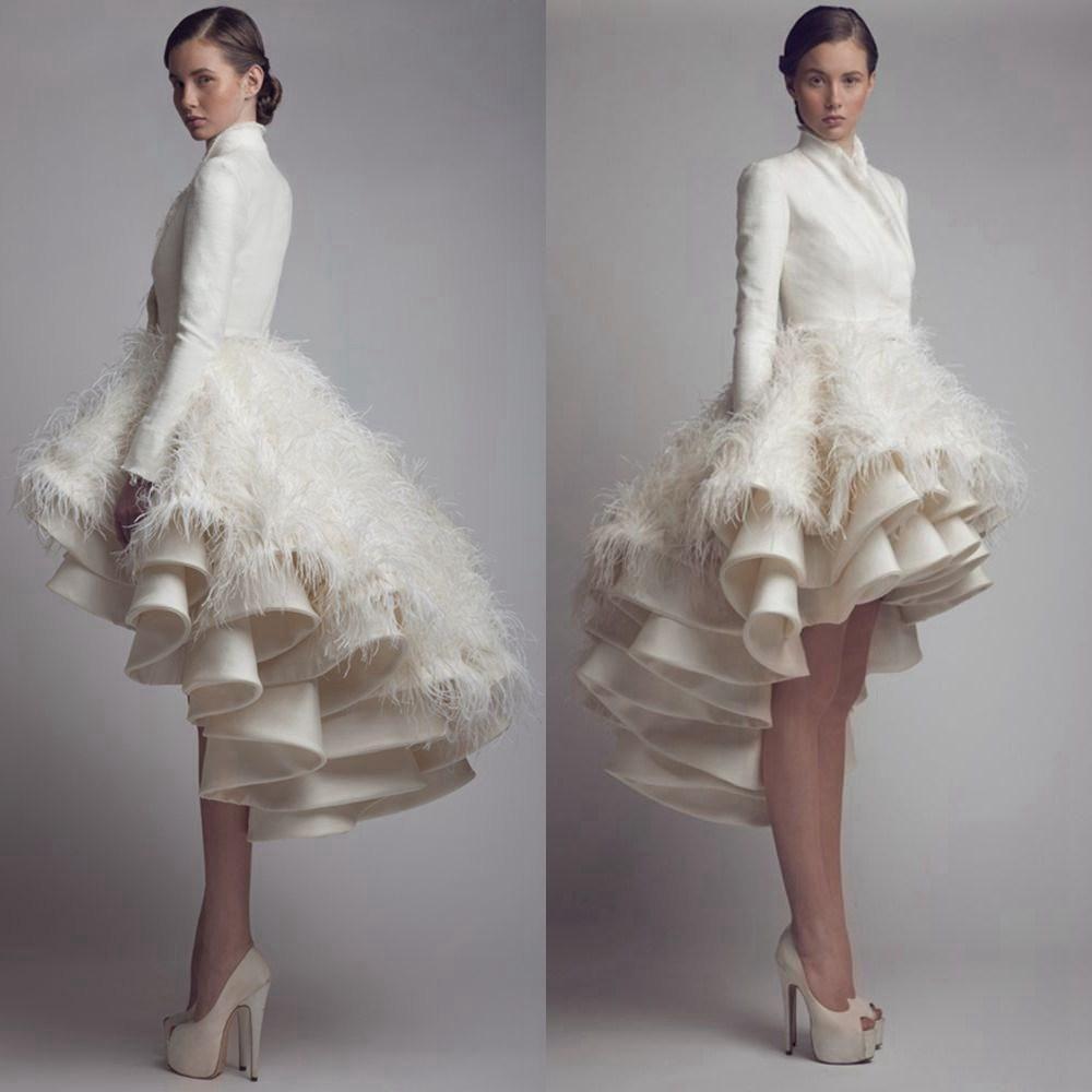 Awesome Princess Line Wedding Dresses Designer Krikor Jabotian High Low Wedding Dresses High Collar Ruffle Feather A Bad Wedding DressesPlus Size
