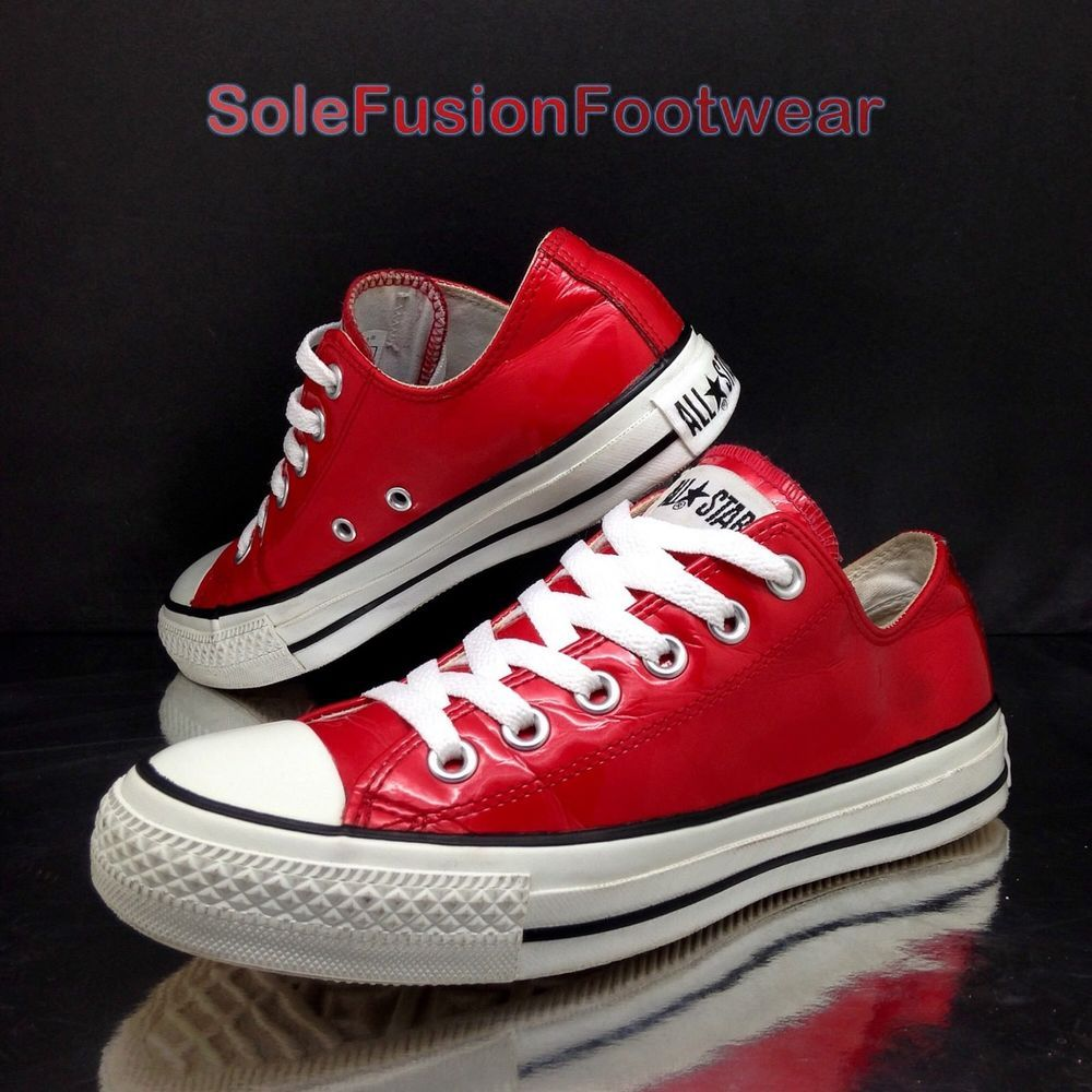 4e0e2357fe8e Converse Womens All Star Leather Trainers Red sz 5 Patent Sneakers US 7 EU  37.5