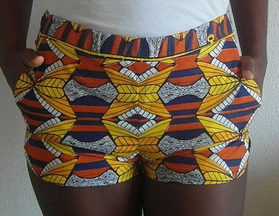 Sporty African Print Summer Shorts with pocket. Elastic waist.  This are our measurements:     XS S M L XL  EUR SIZE 34 36 38 40 42  UK SIZE 8 10 12 14